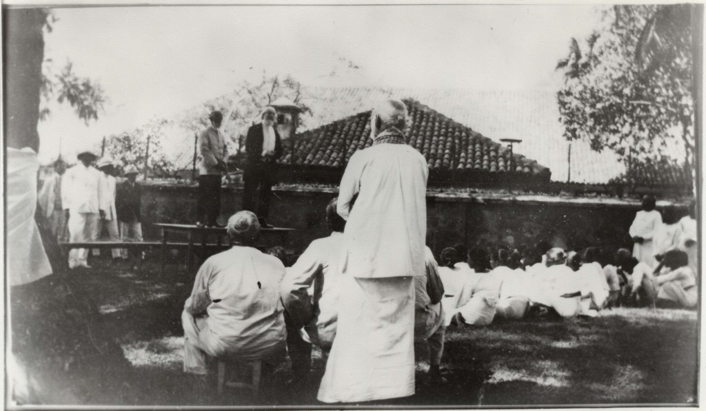 1912, February 1 - Pastor Russell Speaking To Men Lepers - Ceylon - Leper Island 1024x597