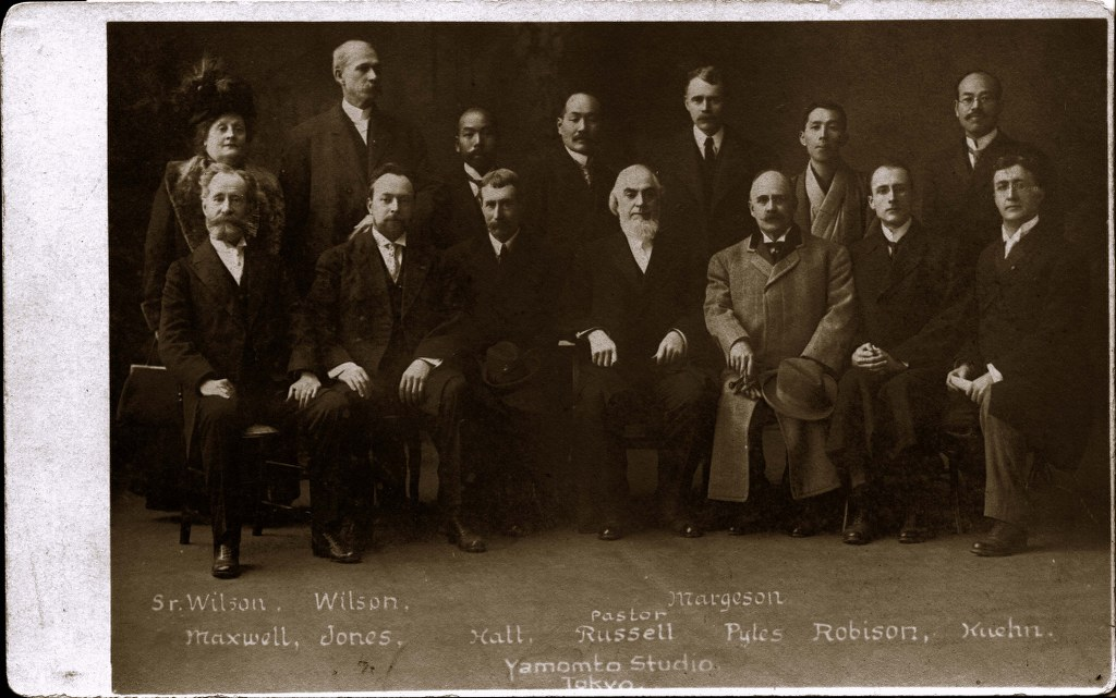 P25 - 1911, Dec 31 - Missionary Committee With Japanese YMCA Representatives - Faded Original Pos 1024x641