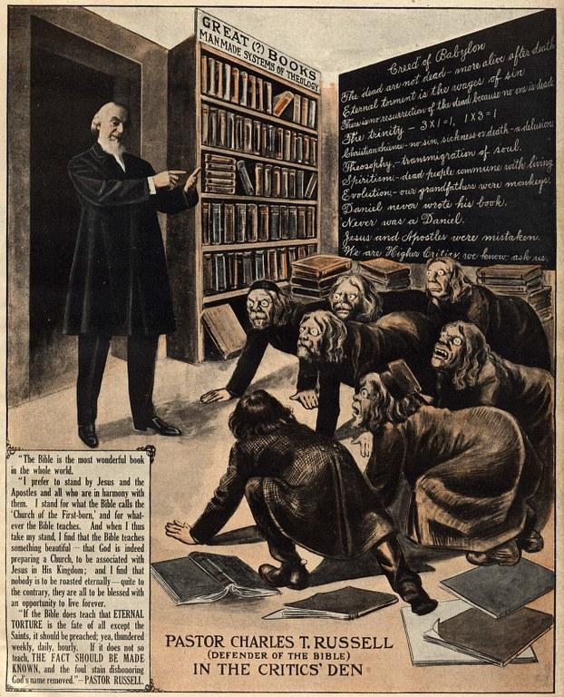 P29 - 1913 Conv Report Book Frontispiece - Pastor Russell In The Critics\' Den - De-halftoned 622x768