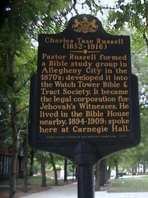 Бр. Рассел жил в Библейском Доме в Аллегейни (1894-1909).